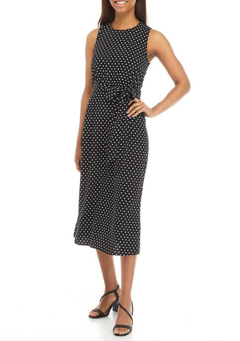 Nine West Womens Sleeveless Classic Dot Midi Dress