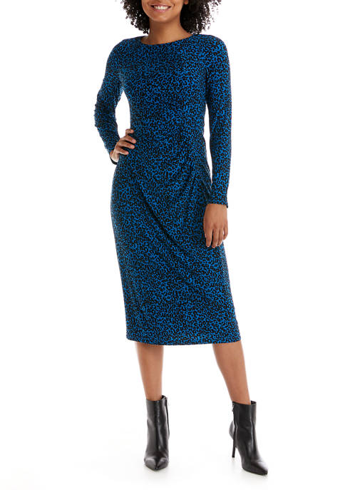 Womens Long Sleeve Ruched Side Leopard Dress