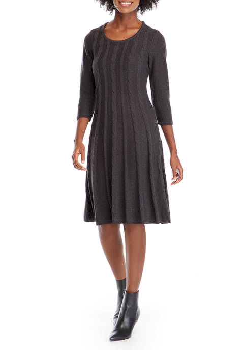 Womens Round Neck Cable Knit Fit-and-Flare Sweater Dress