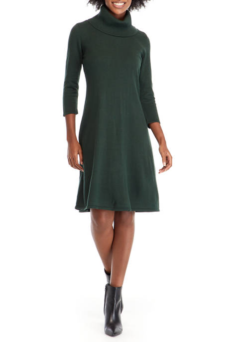 Nine West Womens Cowl Neck Fit-and-Flare Sweater Dress