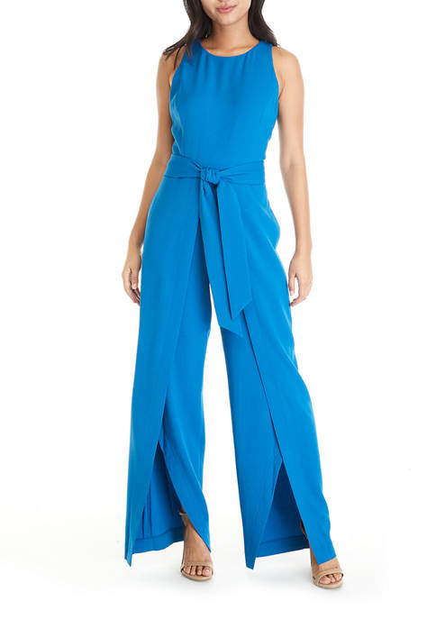 Womens Sleeveless Tie Waist Jumpsuit