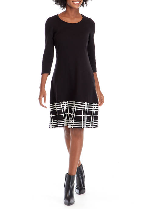 Womens Fit-and-Flare Sweater Dress with Plaid Border