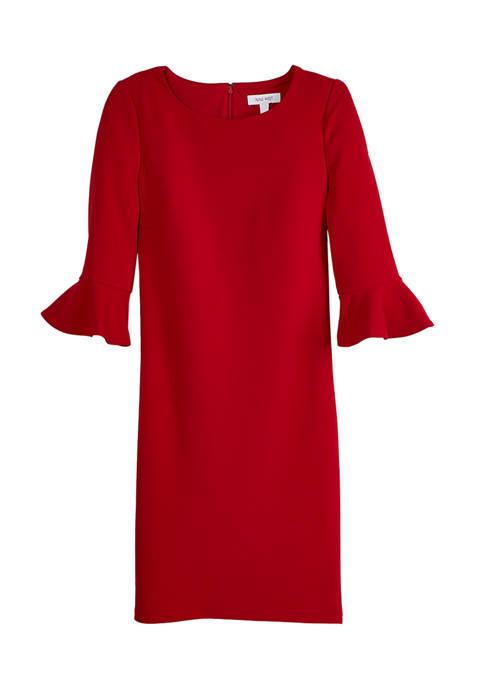 Nine West Womens Bell Sleeve Crepe Shift Dress