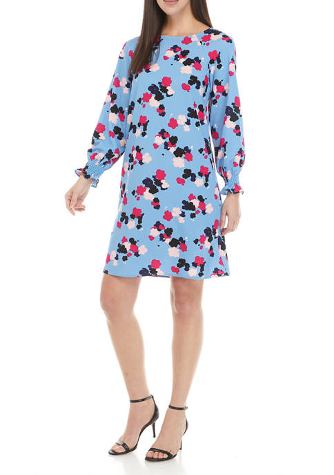 Nine West Womens Long Sleeve Crepe Shift Floral