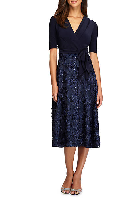 T-length Rosette Party Dress
