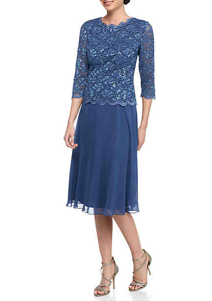 Alex Evenings Tea Length Mock Dress