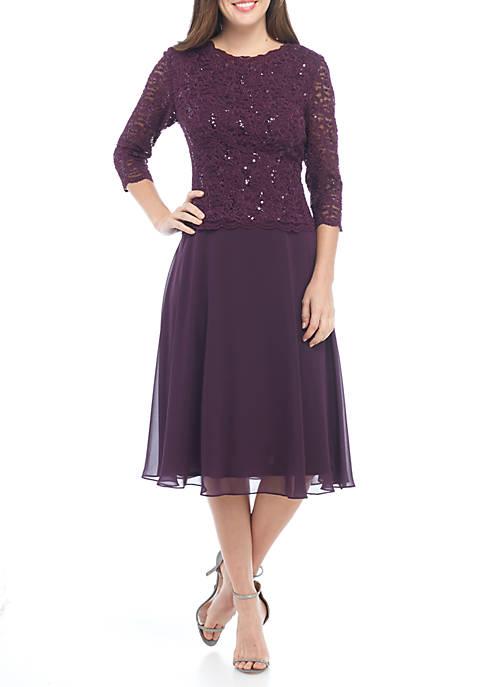 Alex Evenings Womens Tea Length Dress