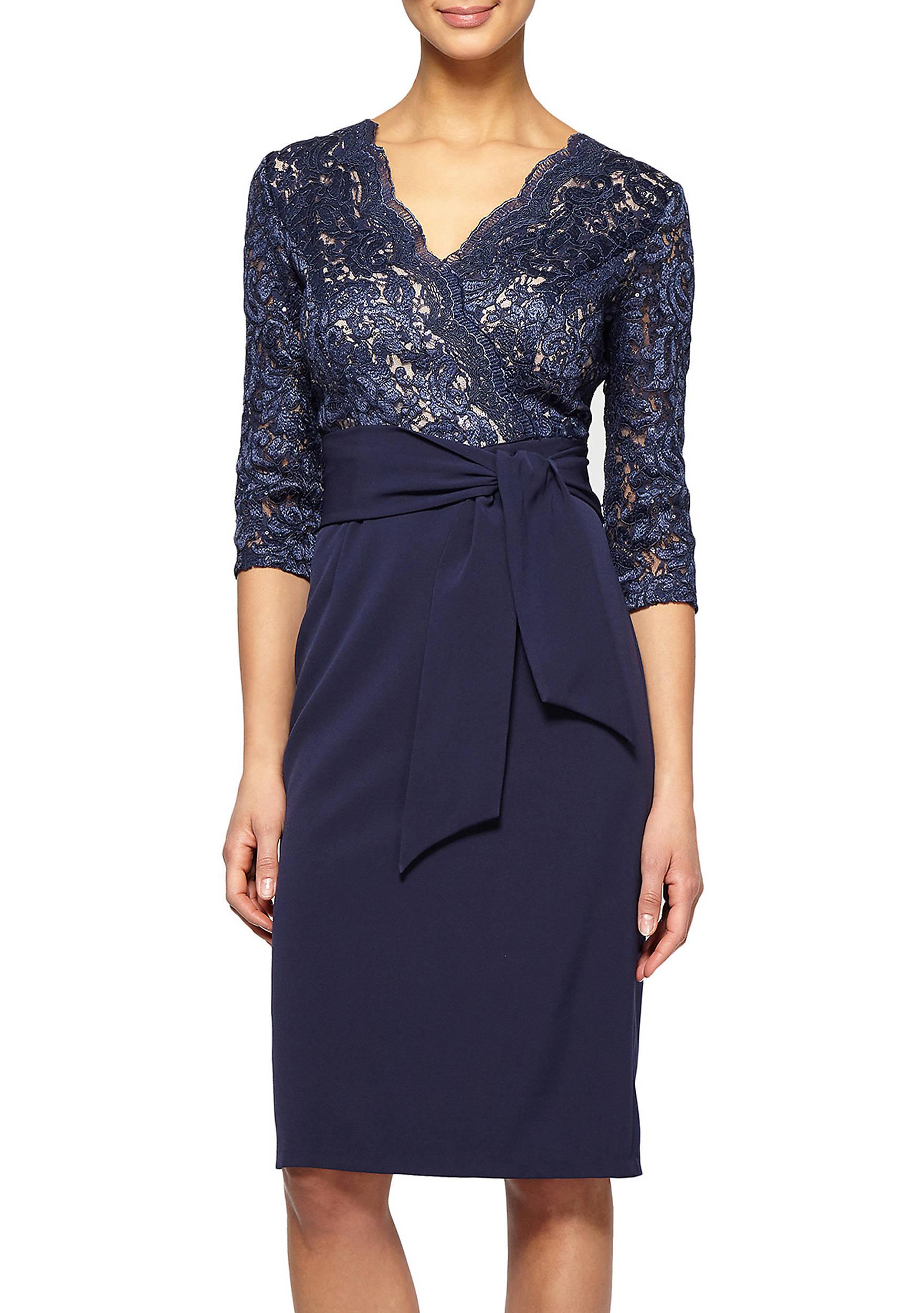 Alex Evenings Metallic Lace Bodice Cocktail Dress   belk