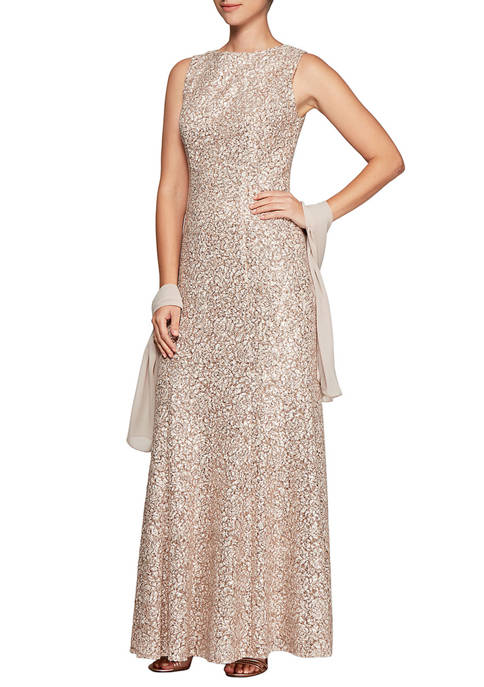 Alex Evenings Womens Fit and Flare Gown with