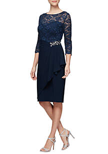 Alex Evenings 3/4 Sleeve Shift Illusion Short Dress