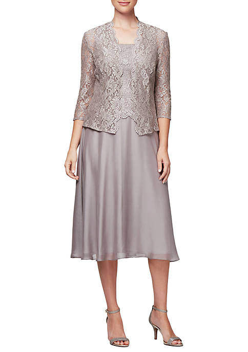 Alex Evenings 3/4 Sleeve Lace Jacket Chiffon Skirt
