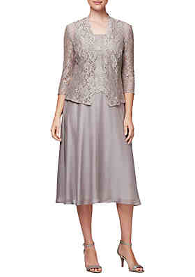 a30a65656ac76 Alex Evenings 3/4 Sleeve Lace Jacket Chiffon Skirt 2 Piece Set ...