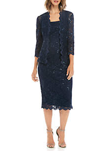 Alex Evenings 2 Piece T-length Lace Jacket & Dress