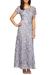 7846f979ecff Alex Evenings Tea Length Mock Dress · Alex Evenings Rosette Gown with Sequin