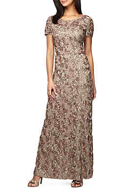 b6826840d6bf1a Alex Evenings Rosette Gown with Sequin ...