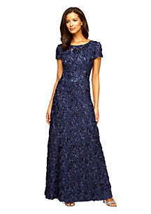 40e20bf16a ... Alex Evenings Rosette Gown with Sequin