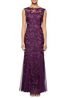 Alex Evenings Long Cap Sleeve Embroidered Dress