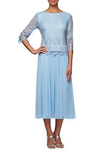 b4ab67c0568 ... Alex Evenings T-length Mock Two-Piece Dress