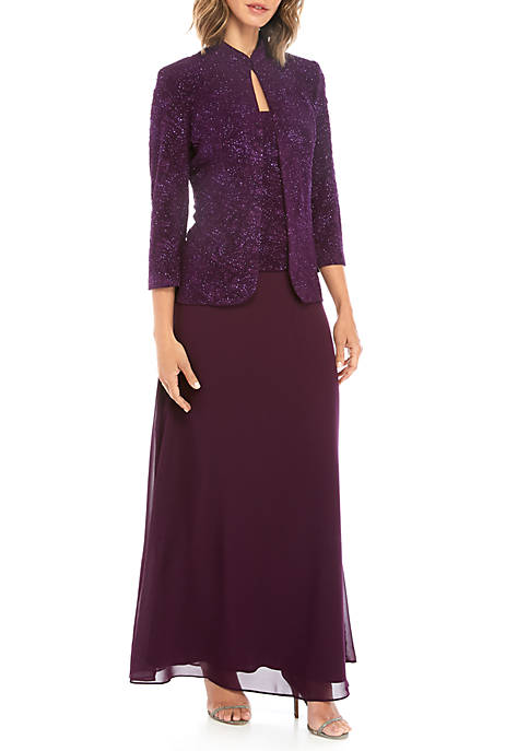 Jacquard Knit Gown and Mandarin Jacket