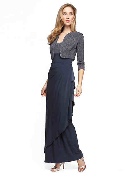 Alex Evenings Empire-Waist Gown with Bolero Jacket ...