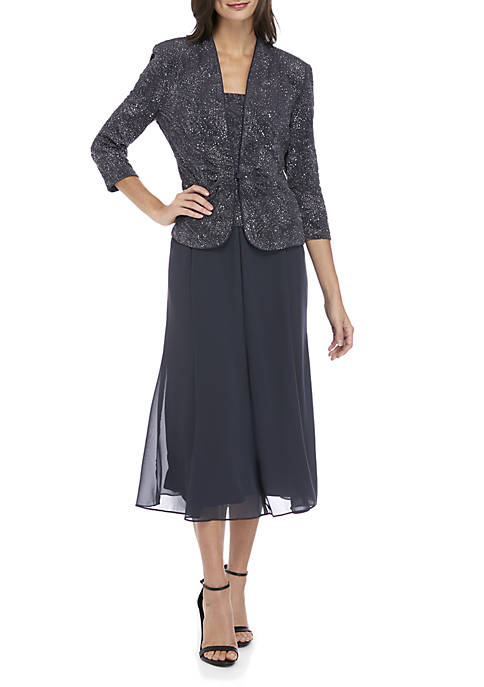 2-Piece T-Length Mock Dress with Jacket Set
