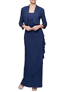 Long Empire Waist Bolero Jacket Gown