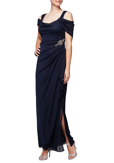 Alex Evenings Long Cascade Skirt Gown