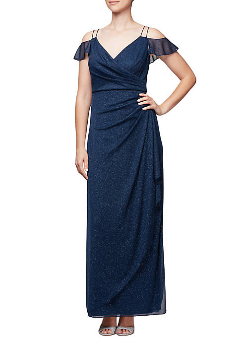 Alex Evenings Long Cold-Shoulder Spaghetti Strap Gown
