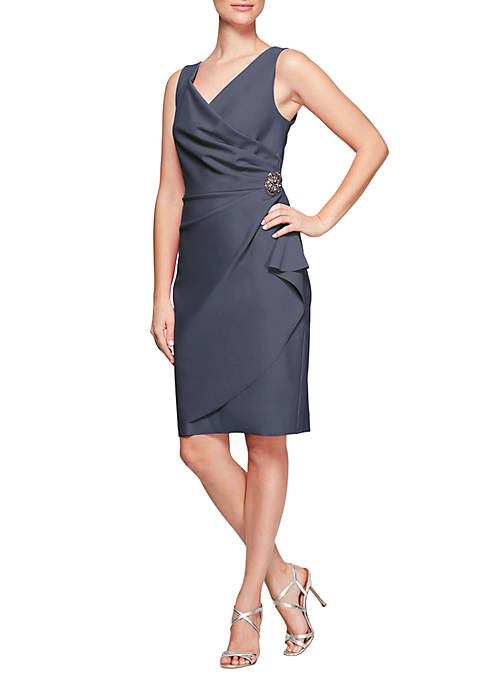 Alex Evenings Side Ruched Dress with Surplice Neck