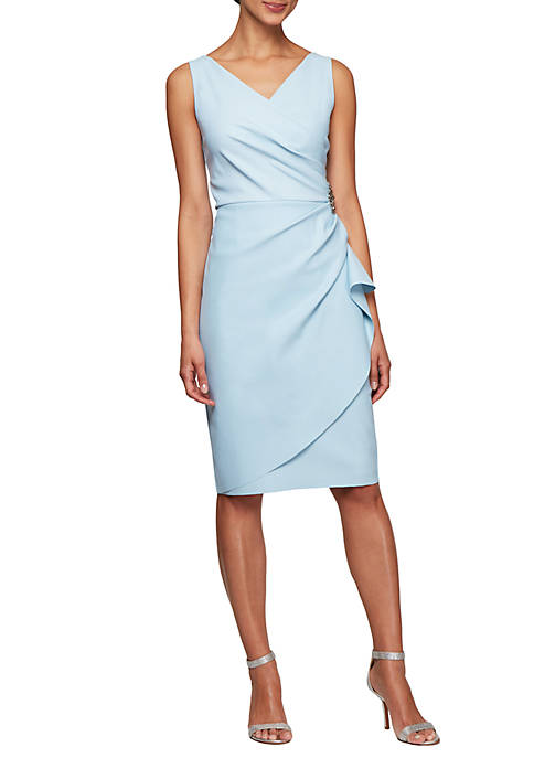Side Ruched Dress with Surplice Neck