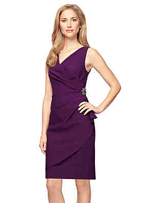 8e974dc6854 Alex Evenings Side Ruched Dress with Surplice Neck ...