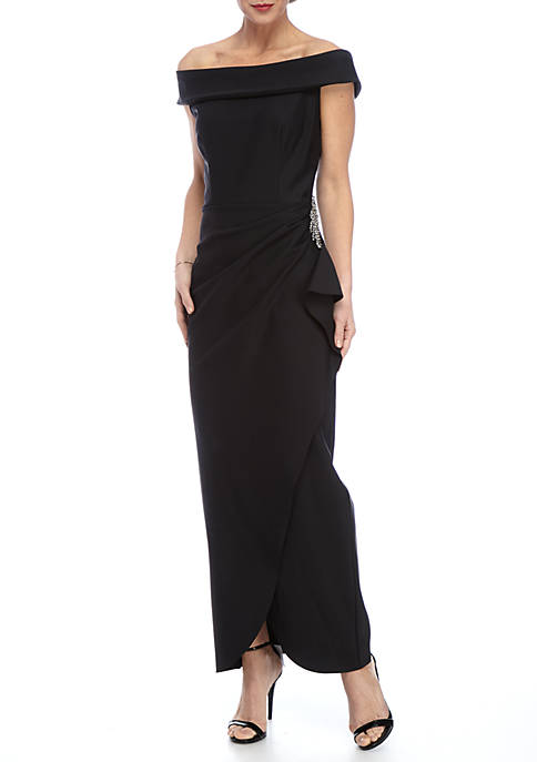 Alex Evenings Bead Embellished Off the Shoulder Gown