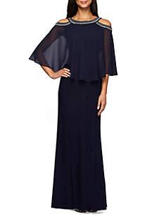 Bead Embellished Cold Shoulder Popover Gown