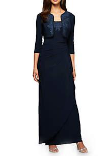 Bead Embellished Gown with Bolero Jacket