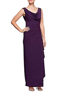 Jersey Cowl Side Ruffle Gown