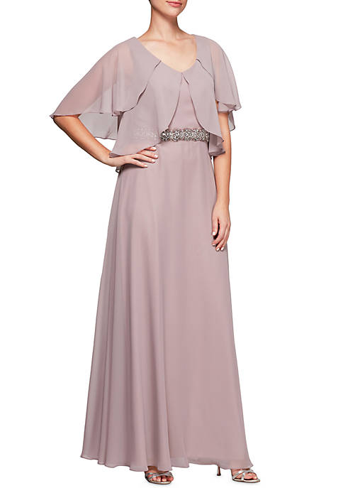 Alex Evenings Chiffon Bead Embellished Waist Gown