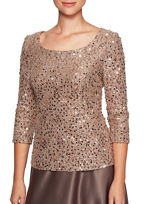 Alex Evenings Three-Quarter Sleeve Scoop Neck Blouse