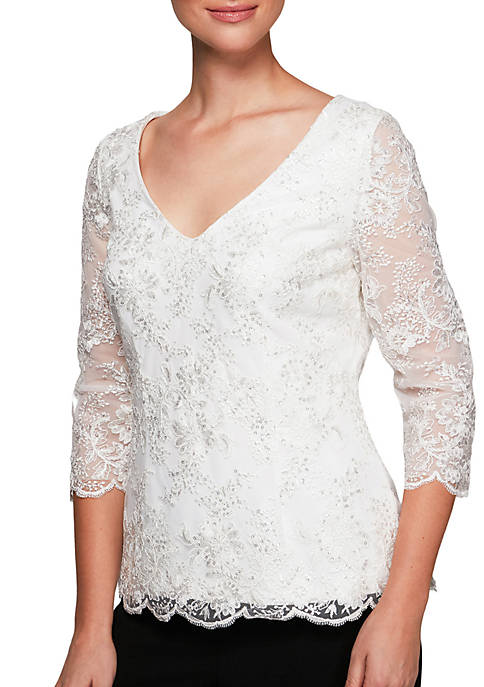 Alex Evenings Embroidered Lace Top
