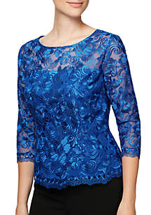 Three-Quarter Sleeve Embroidered Scalloped Blouse