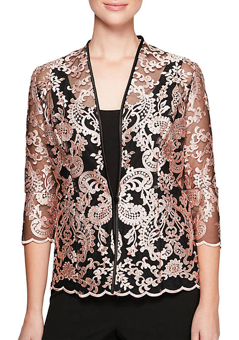 Alex Evenings Embroidered Lace Twinset Jacket and Tank