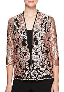 Embroidered Lace Twinset Jacket and Tank