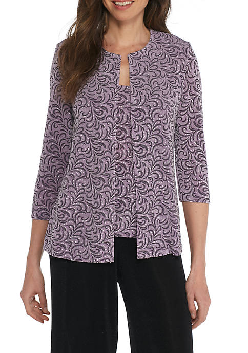 Alex Evenings 3/4 Sleeve Printed Twinset