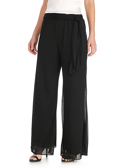 Alex Evenings Mesh Pants with Waist Tie Detail