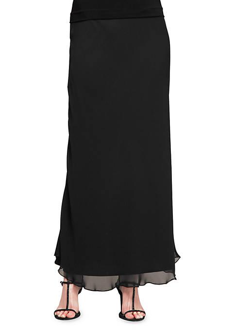 Alex Evenings Long A-line Chiffon Skirt
