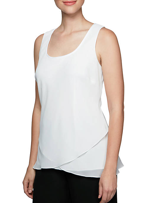 Alex Evenings Ruffle Hem Tank