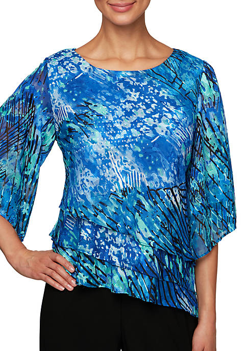Alex Evenings Printed Triple Tier Blouse with Asymmetric