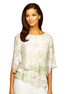 Alex Evenings Printed Triple Tiered Blouse