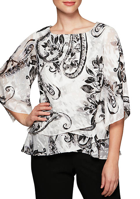 Alex Evenings 3/4 Sleeve Printed Blouse
