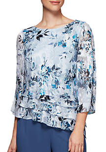 Three-Quarter Split Sleeve Asymmetrical Triple-Tier Hem Blouse