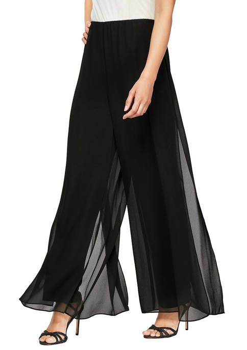 Alex Evenings Sheer Straight Leg Overlay Pant